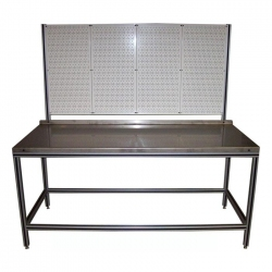 Heavy-Duty-Workbench-With-Stainless-Steel-Top-and-Peg-Board