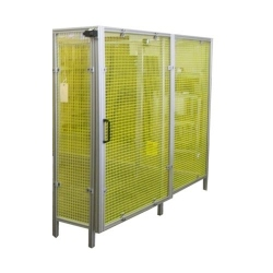 Yellow-Wire-Partition-With-Sliding-Door