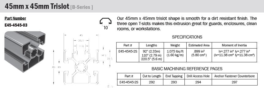 45mm tslot 3 slot extrusion