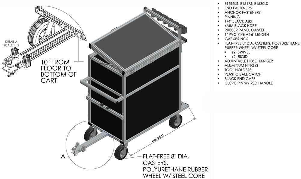heavy duty aluminum maintenance cart